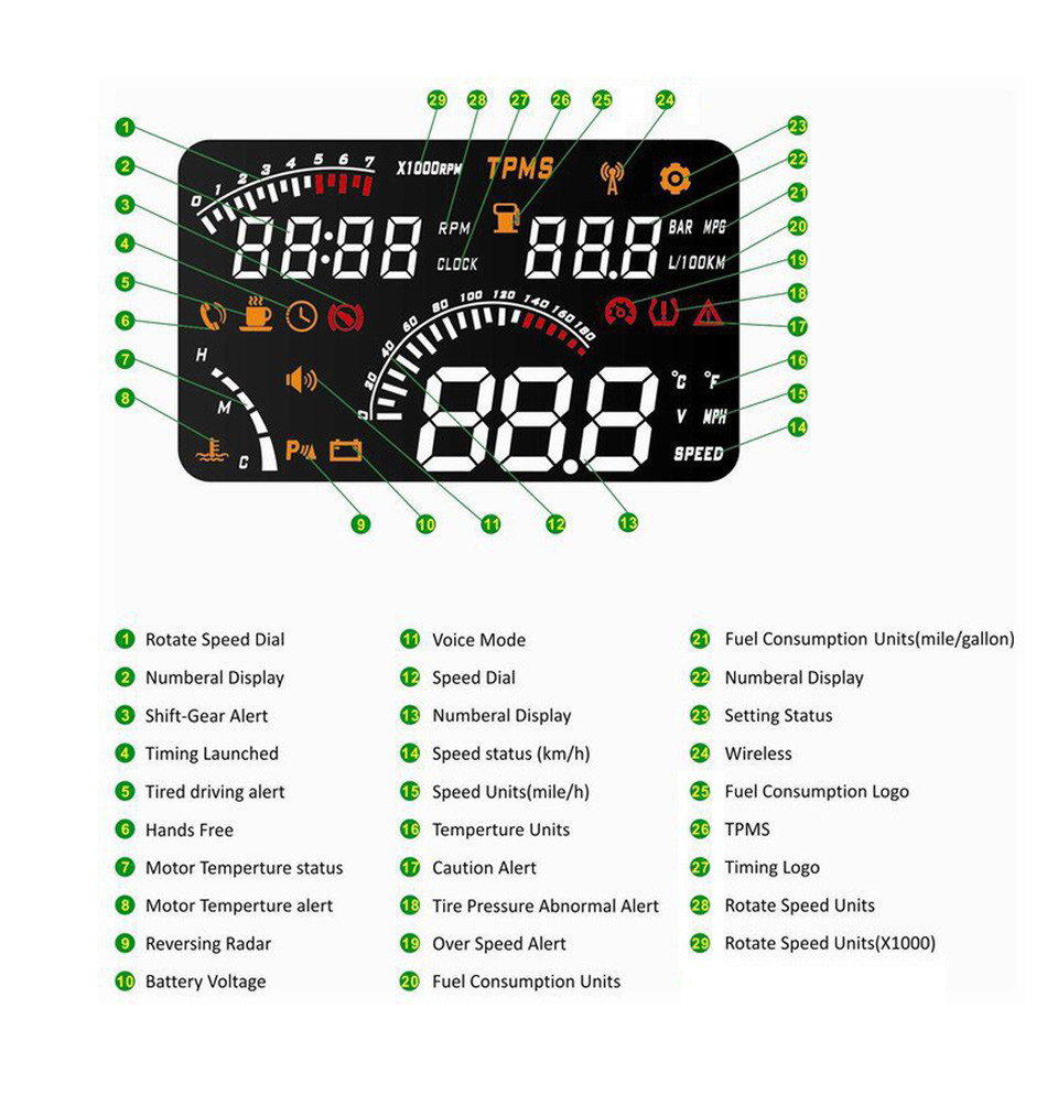W03 Universal Car HUD Wirless Blutooth Head Up Display Windscreen Projector OBD2 II Speedometers Speeding Warning Fuel Dashboard-2