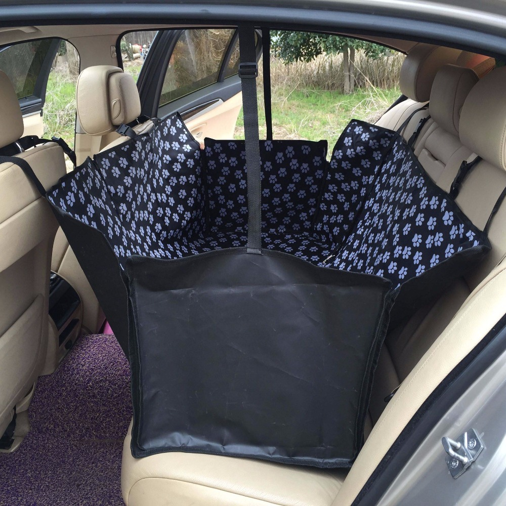 Paw Print Car Rear Seats Protector Waterproof Bulldog Husky Shepherd Dog Pet Seat Cover Two Ways