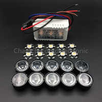 10 pz 3 W Pianta Coltiva Lo Spettro Completo 400-840nm High Power LED + 10 pz obiettivo da 60 gradi + 1 pz 6-10x3w driver
