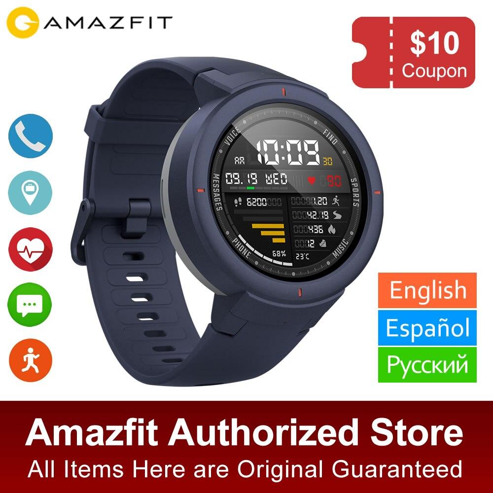 Английская версия Xiaomi Huami Amazifit verge Smartwatch телефонный звонок Герат скорость мониторинга gps Спорт Смарт часы