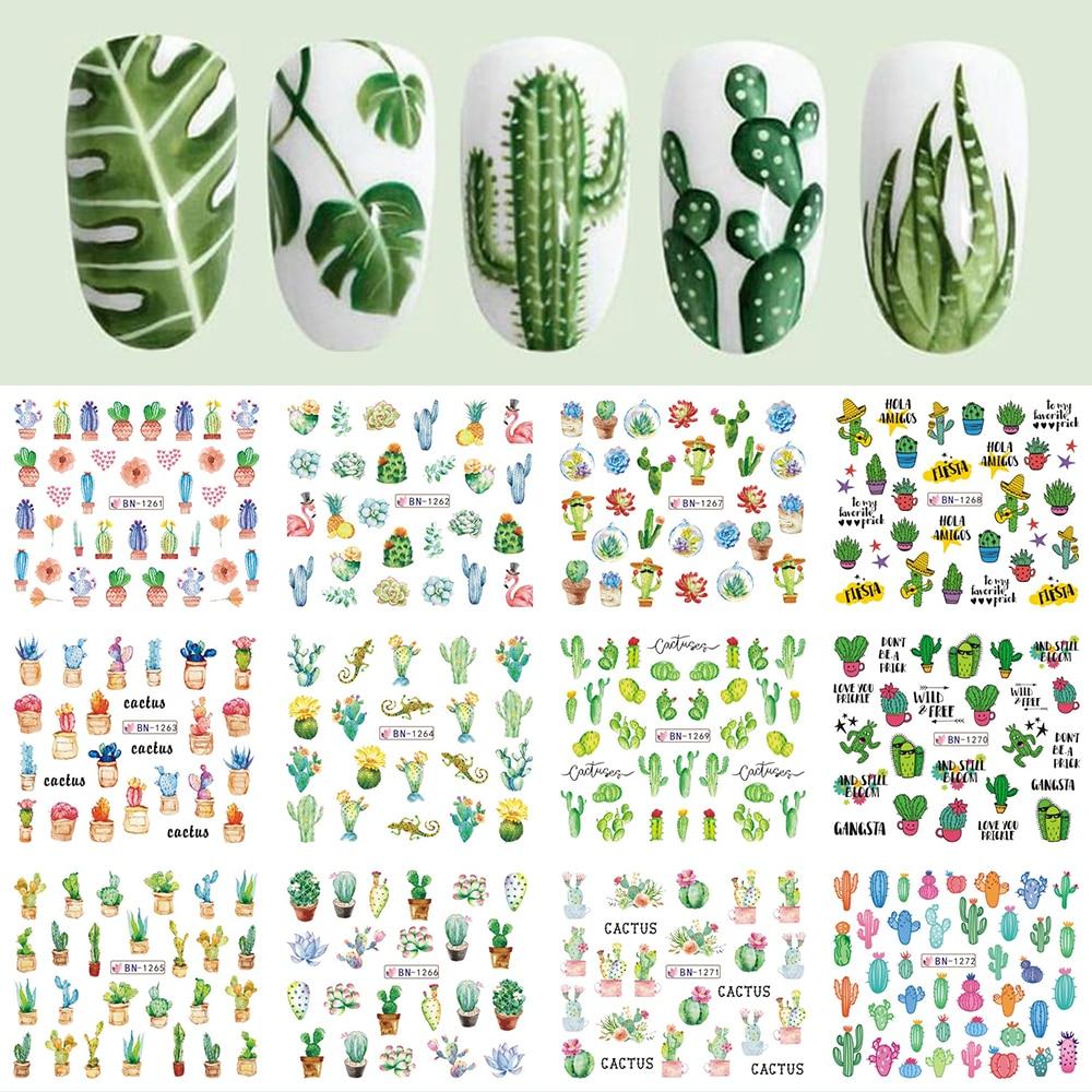 Decoration Nail-Sticker Tattoo Water-Decals Flakes-Slider Leaf Cactus Green-Plant 12-Designs