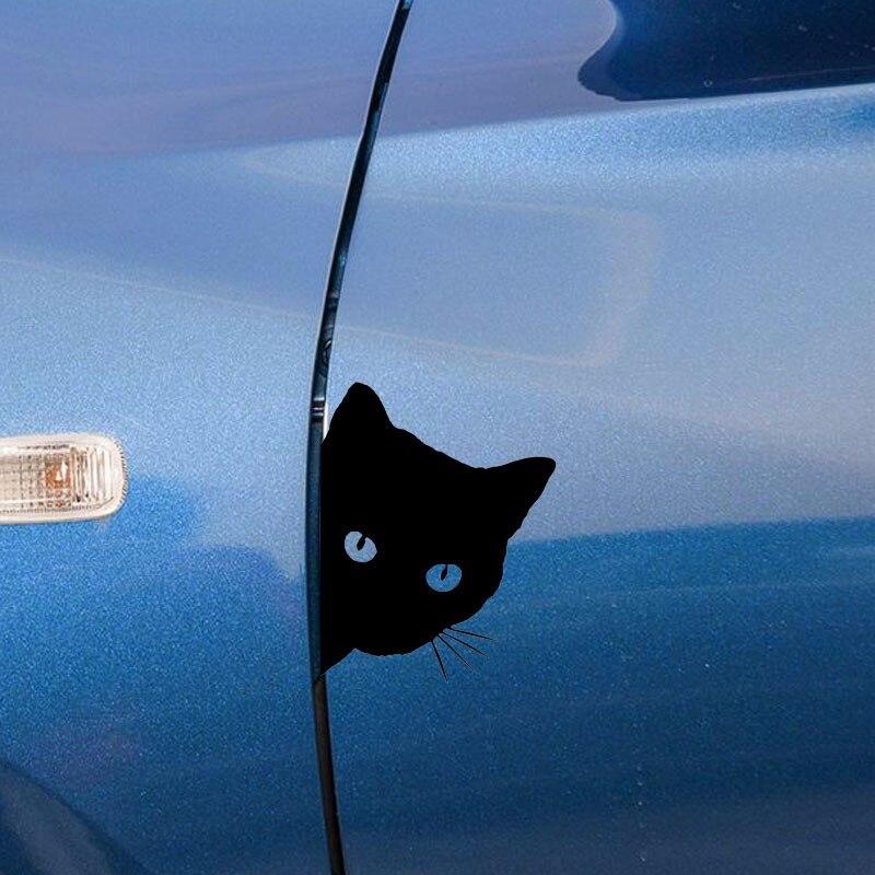 12*15CM CAT FACE PEERING Car Sticker Decals Pet Cat Motorcycle Decorative Stickers Car Window Decals C2-0089 11