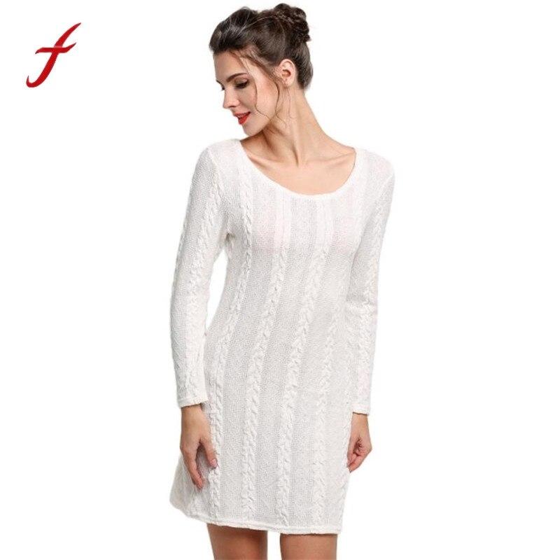 Women Ladies Long Sleeve Crewneck Jumper Slim Casual Knitted Sweater Mini Dress 2017 Autumn O-neck Dress Women vestidos playa alfani new black long sleeve crewneck sweater m $49 5 dbfl