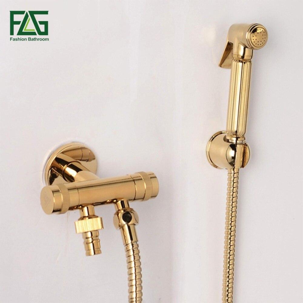 Golden Brass Handheld Bidet Spray Shower Set Copper Bidet