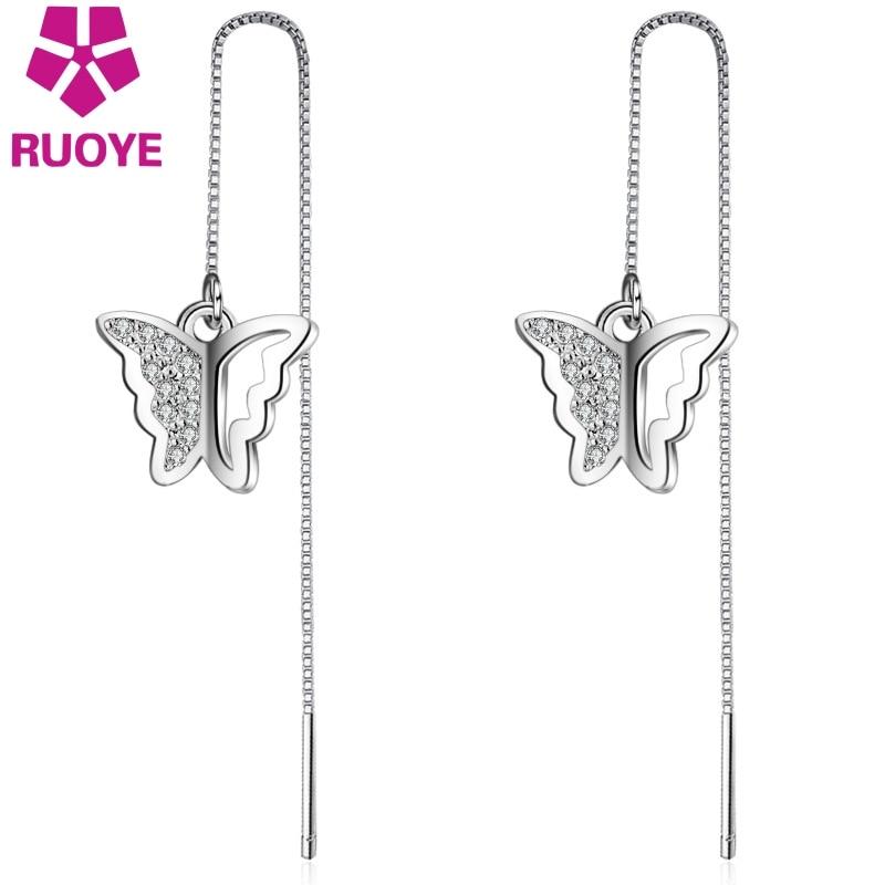 RUOYE Fashion Rose Gold Luxury Crystal Women Drop Earrings Tassel Butterfly Earrings For Women Jewelry