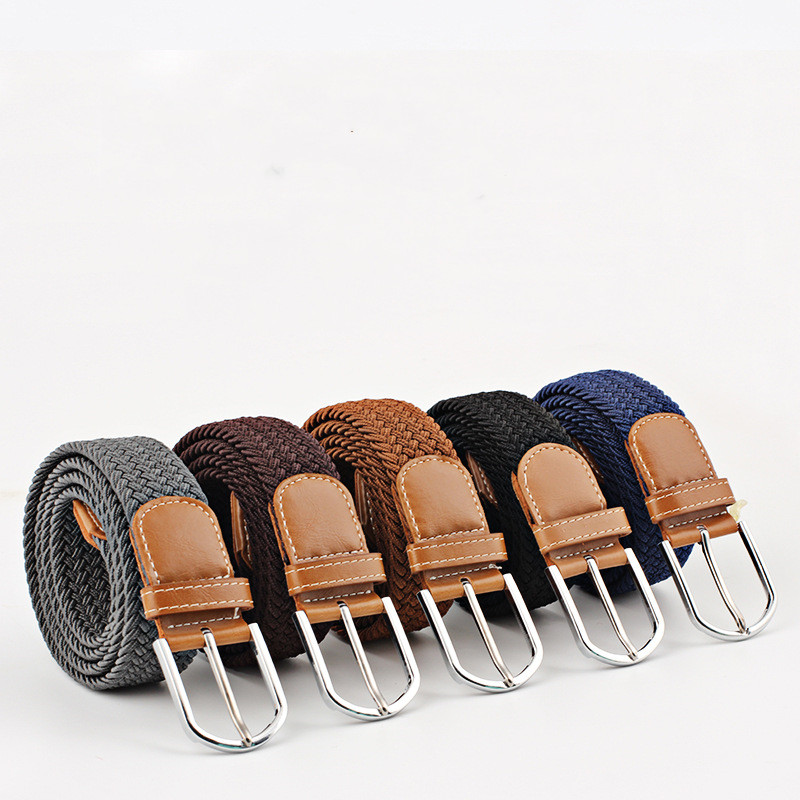 Fashion Unisex Casual Knitted Pin Buckle Belt Women Canvas Elastic Belts For Jeans ceinture femme