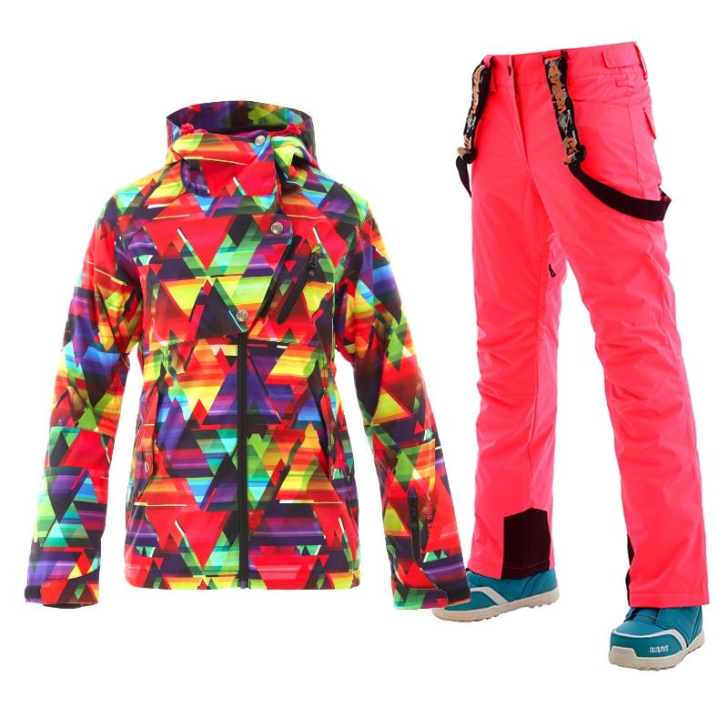 d0019400de GS 2018 ski suit women winter ladies ski jacket outdoor mountain skiing snowboard  jackets snow pants warm chaqueta nieve mujer