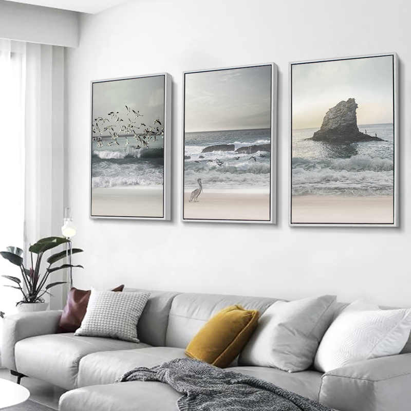 Nordic Decoration Coastal Landscape Painting Ocean Wall Art Beach Canvas Poster and Print Decorative Picture for Living Room