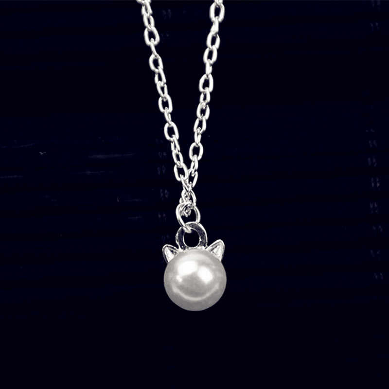 x260 The New Fashion Simulated White Pearl Pendant Necklaces For Women Lovely Cat Ears Shape Necklaces For Girls Cute Jewelry