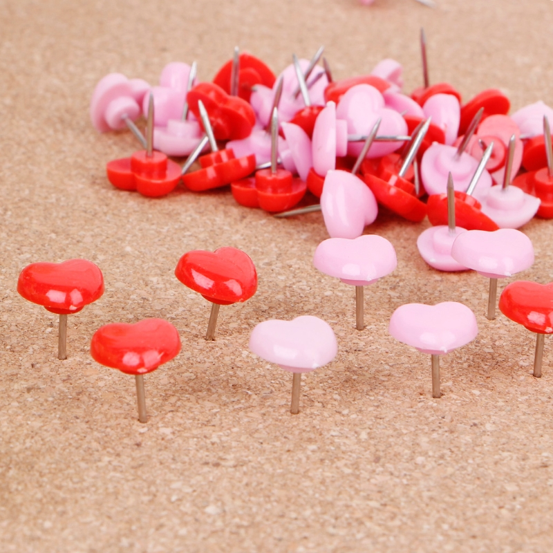 50 Pcs Heart Shape Plastic Quality Colored Push Pins Thumbtacks Office School 10166