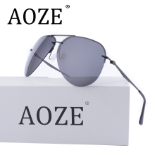 AOZE Brands women Aviator HD Polarized Men Driver Mirror sunglasses Rimless GafasTop quality Anti-Vertigo Driving Travel Glasses