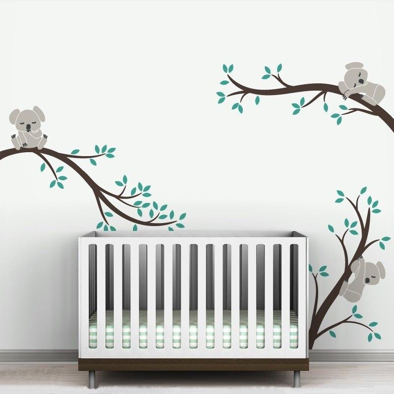 Velkoformátové vyměnitelné větve stromů Koala DIY Lepicí obrazy na stěnu Nástěnné samolepky Školky Vinylové samolepky na zeď Nástěnné umění pro děti Pokoj 504