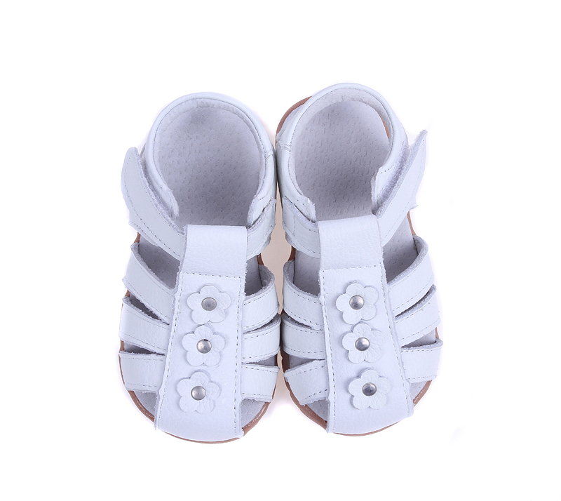 Girls Sandals Genuine Leather Toddler Shoes Red Pink White  Closed Toe Summer  Flowers Fashion Durable Quality SandQ Baby