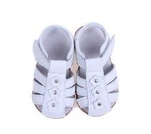 Девушки сандалии из натуральной кожи малыша обувь красный розовый белый закрытый носок летние цветы моды прочное качество SandQ ребенок