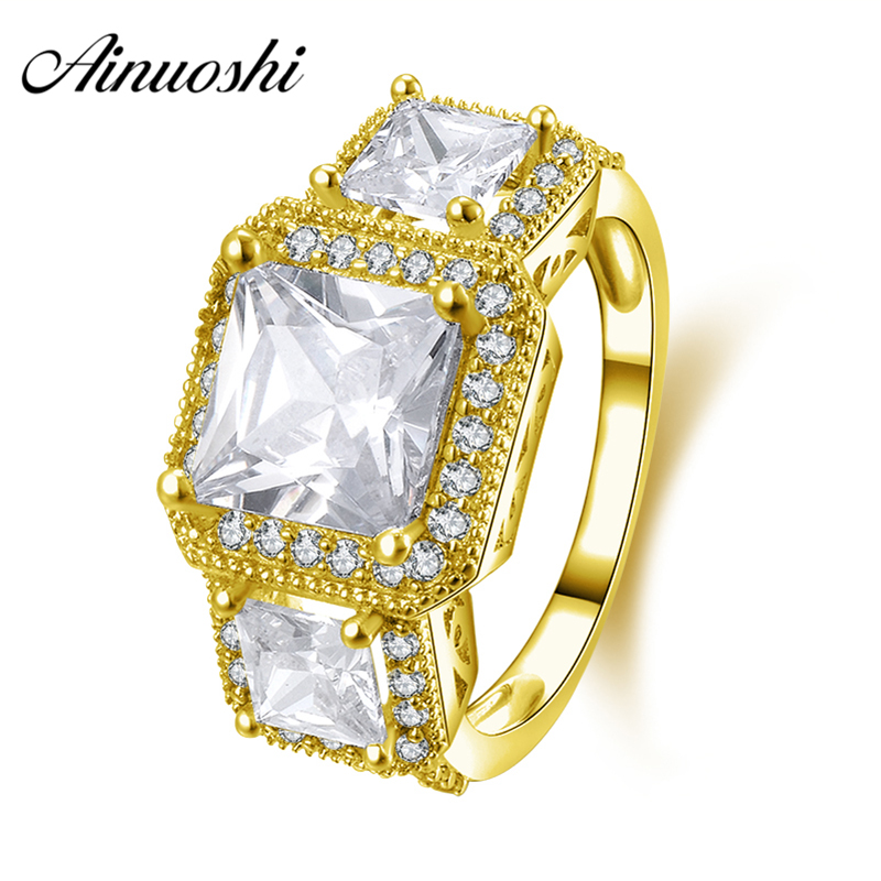 AINUOSHI 10K Solid Yellow Gold Engagement Ring 3 Stones Luxury Jewelry 1.25 ct SONA Simulated Diamond Women Wedding Halo RingsAINUOSHI 10K Solid Yellow Gold Engagement Ring 3 Stones Luxury Jewelry 1.25 ct SONA Simulated Diamond Women Wedding Halo Rings