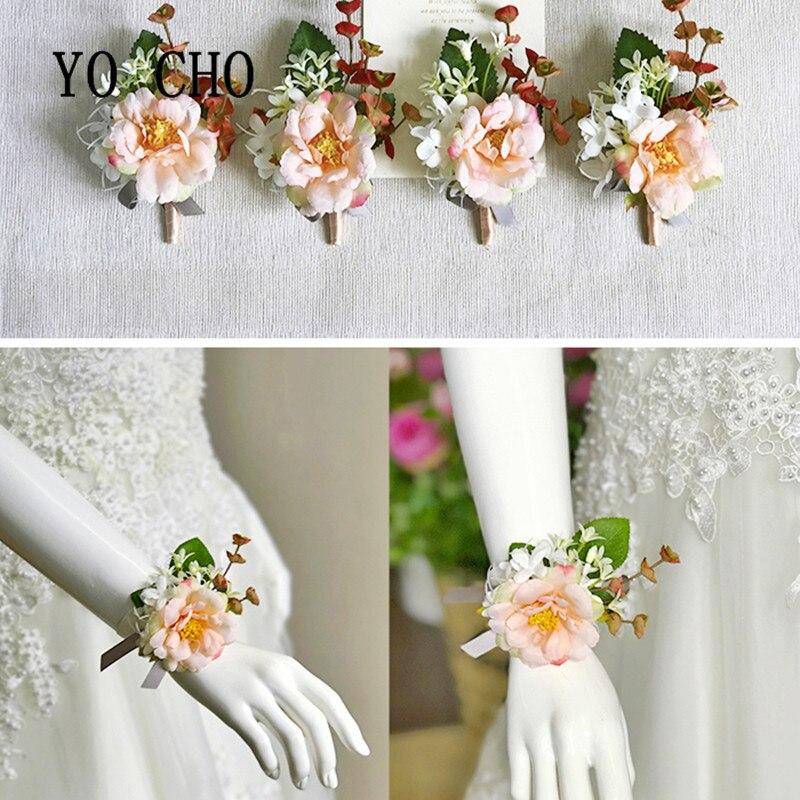 YO CHO Wrist Flower Ribbon Tie Ribbon Bride Corsage Hand Decorative Wristband Bracelet Bridesmaid Delicate Light Yellow Rose zwbra shower curtain