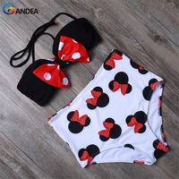 Sexy Women Swimsuit High Waist Bikini Set Cute Animal Style Bow Knot Top With Removable Padded