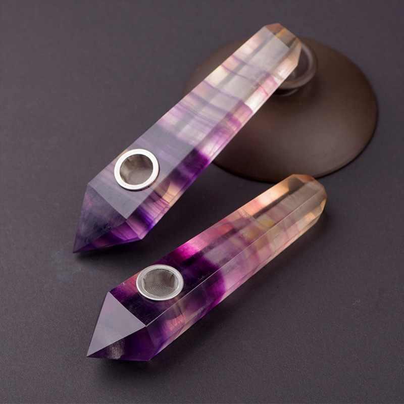 คริสตัลธรรมชาติสูบบุหรี่ที่มีสีสัน Fluorite ท่อจุดสูบบุหรี่ควอตซ์คริสตัลอุปกรณ์ Stone Wand Smelting
