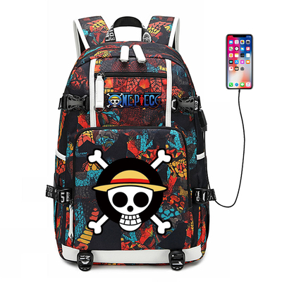 Nouveau une pièce Luffy cartable impression pochette d'ordinateur hommes voyage sacs USB charge sac à dos zoro Oxford sac à dos