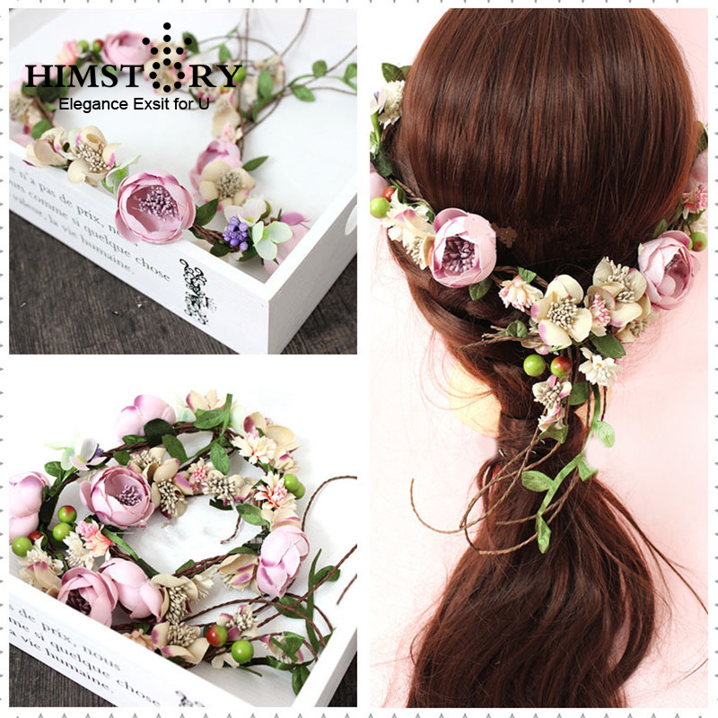 HIMSTORY Garlands Wedding-Headband Purple Bridal Violet Hair-Accessories Flower Floral-Hair