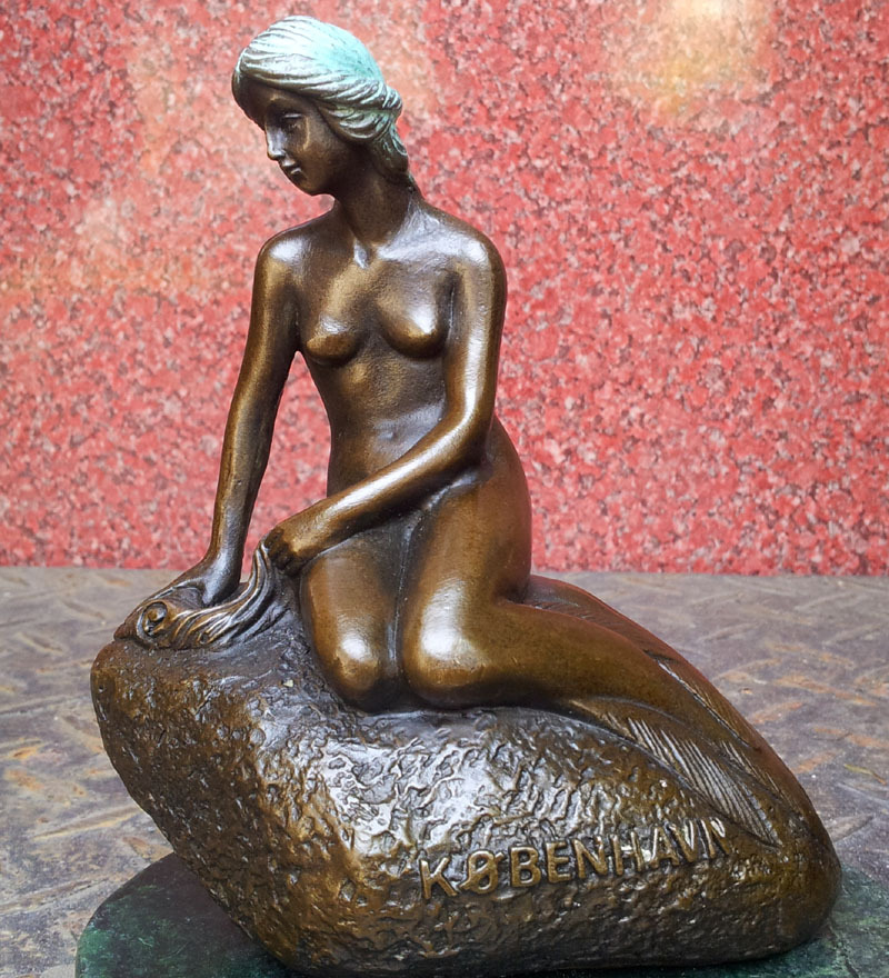 bronze sculpture mermaid Mermaid Denmark bronze sculpture like a birthday gift Home Furnishing ornament art decoration