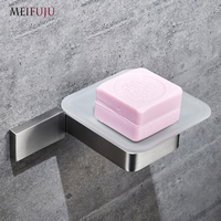 MEIFUJU Wall Soap Dish Holder Shower Square Soap Dish Stainless Steel Brushed Nickel Soap Holder with Glass Dishes Soap Holder