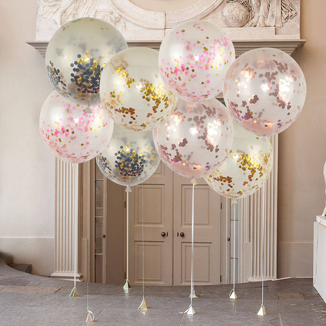 1pcs 18 Inch Pearl Cofetti Balloon Latex Confetti Ballon Air Ball Happy Birthday Balloons Kids Toys Wedding Party Decoration