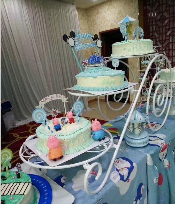 Grand plateau en métal de gâteau de support de gâteau (8 pouces-14 pouces) support de présentoir de Cupcake de 3 niveaux support de plateau de désert de fête d'anniversaire de mariage