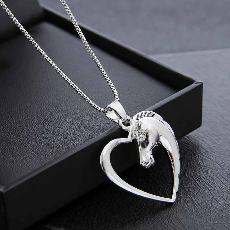 Handmade Shiny Animal Horse Heart Love Silver Necklace Pendant Friendship Gifts
