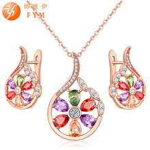 FYM Luxury Rose Gold-color Flower Jewelry Sets For Women Multicolor Zircon Pendant Necklace & Earrings Engagement Jewelry new multicolor flower cz wedding jewelry set for women rose gold color link chain slide pendant earrings necklace jewelry sets