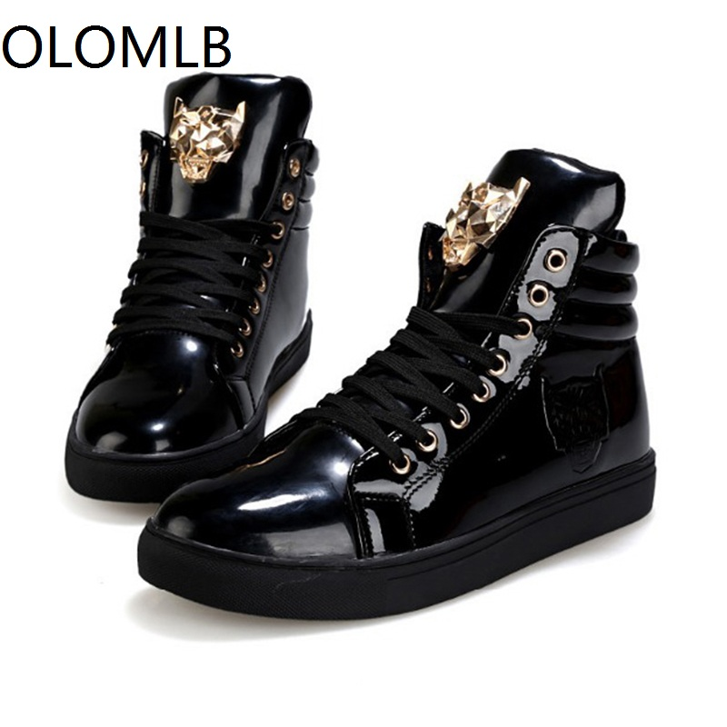 NEW Men Shoes High Top Casual Pu Flat Lace-up Boots Male Sneakers Skateboard Sneakers Running Travel Shoes 2019