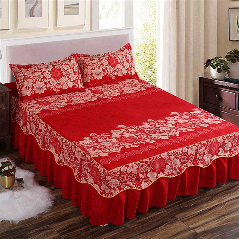 Home Textile Bedcover European Style Bedspread Polyester Cotton Bed Skirts  Flowers Colourful Bed Linings150X200cm Queen Size