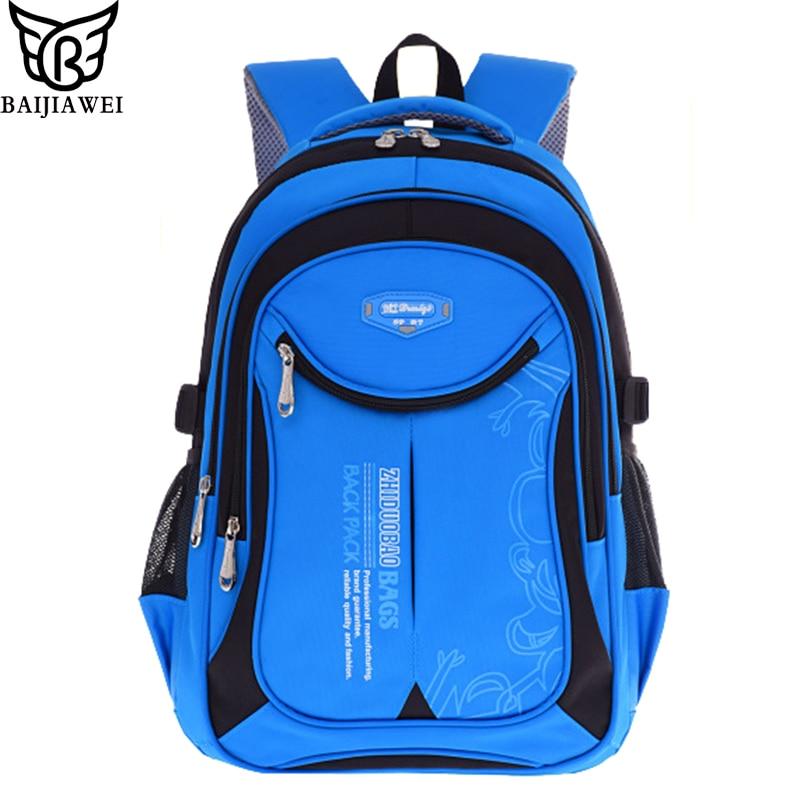 купить BAIJIAWEI Oxford Children School Bags Reflective Design Teenagers Backpacks Primary School Bags Travel Waterproof Schoolbag недорого