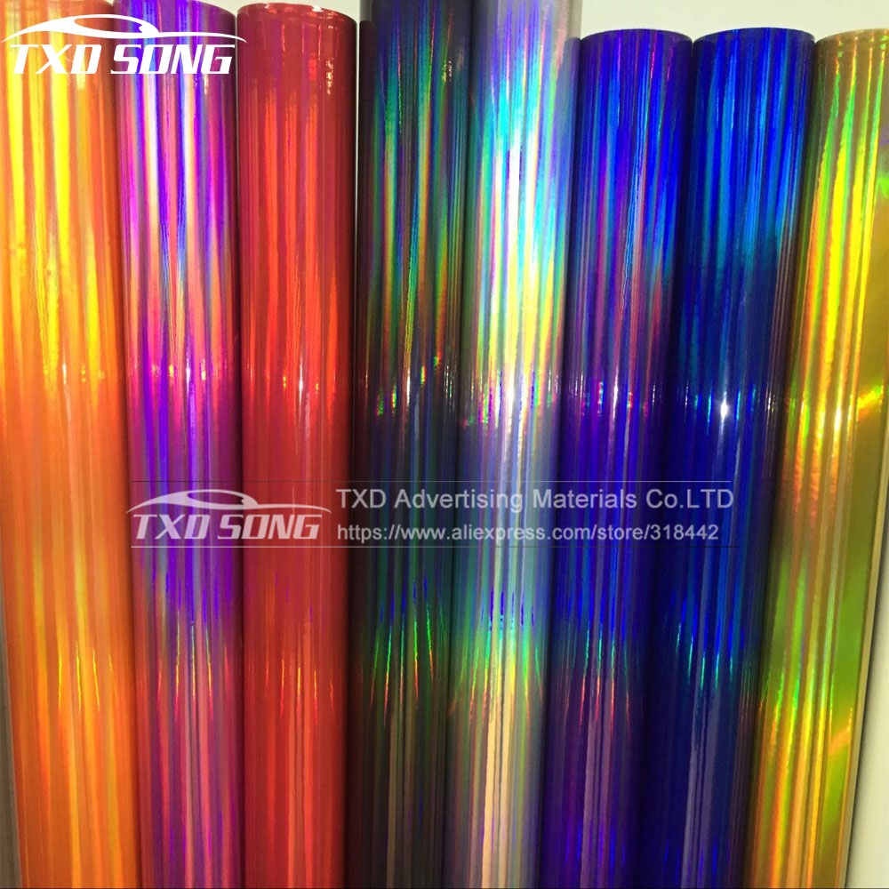 Bulk meter Selling Silver black Holographic Chrome Vinyl Holo Film Laser Plating Car Wrap Sticker Sheet With Air Bubble Free-in Car Stickers from Automobiles & Motorcycles    1
