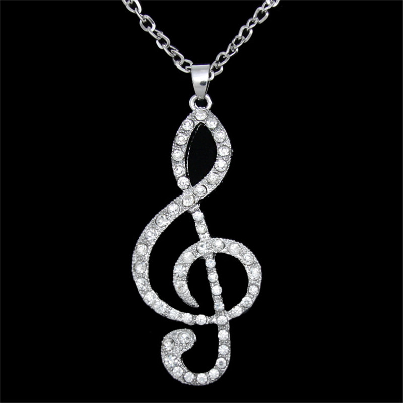Fashion Hollow Musical Shaped Pendants Good Quality Metal Necklace Music Jewelry Gold Silver Special Gift