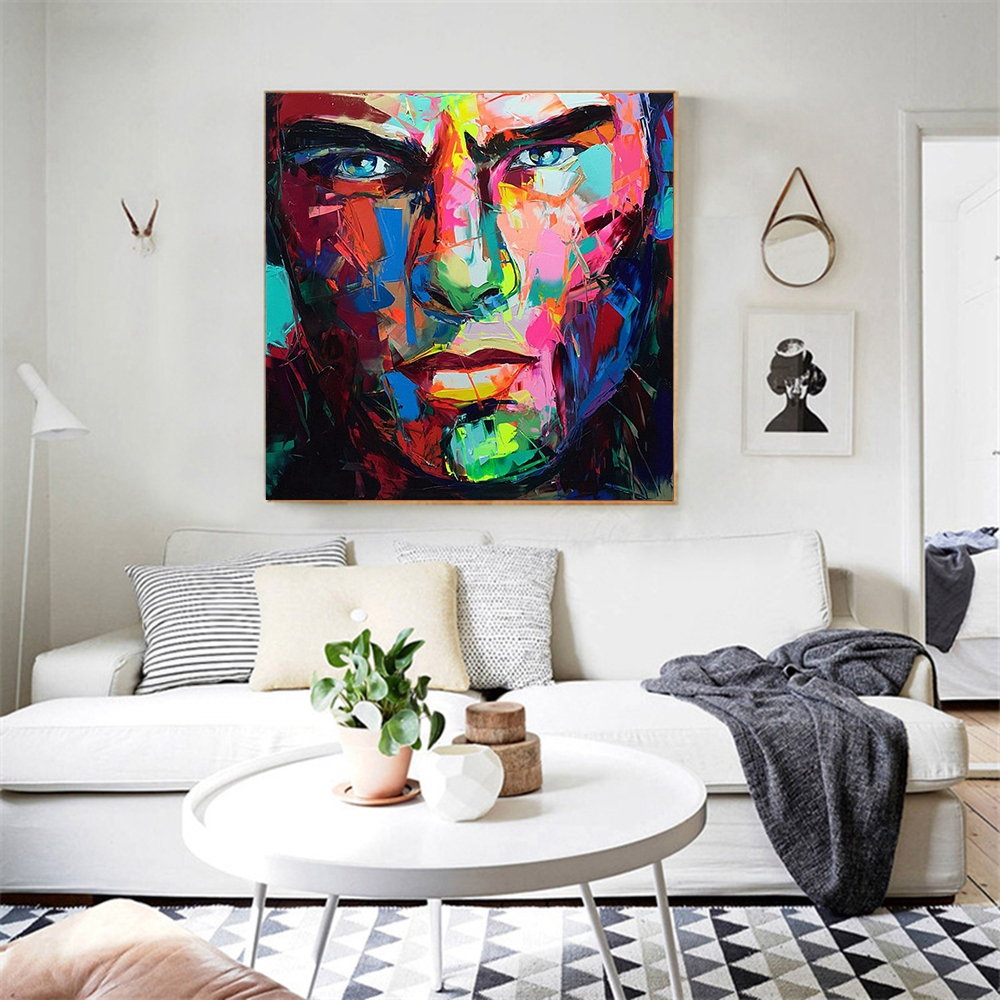 Us 64 8 46 Off Handmade Canvas Painting Abstract Wall Art Knife Paintings For Office Dining Room Decor Cool Man Face Artwork Drop Shipping In