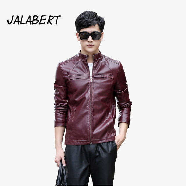 2017 Autumn New Men Stand Up Collar Leather Jacket Young Man