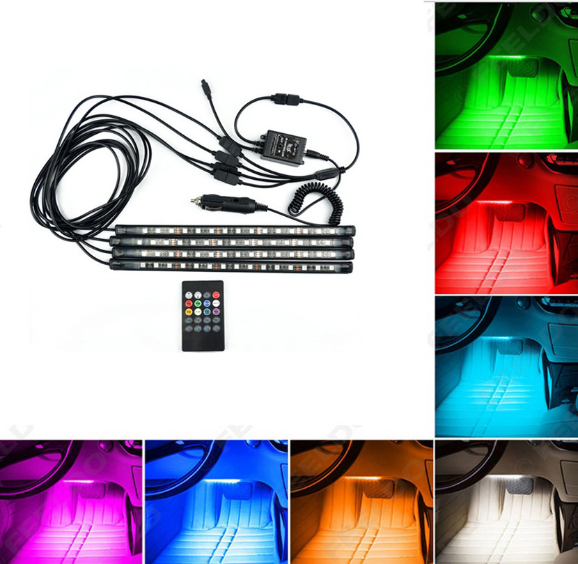 4pcs music voice Control Car Interior RGB Strip Light Flexible Atmosphere Lamp Kit Foot Lamp Decorative full color car led strip car styling wireless remote music voice control interior floor foot decoration light cigarette led atmosphere rgb neon lampstrip