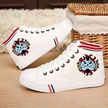 Funny print ONE PIECE Pirate Regiment Logo Cartoon Womens Casual Shoes Lace-up High Canvas Girlfriend Gift