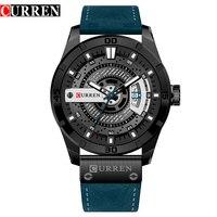 New Fashion Mens Watches Curren Brand Luxury Leather Quartz Men Watch Casual Sport Clock Male Wristwatch