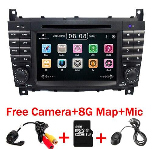 Reproductor DVD coche 2 Din de 7 pulgadas para mercedes-benz W203, W209vW169, W219, Clase A, A160, c-clas, C200, CLK200, CLK350, Radio, GPS, BT