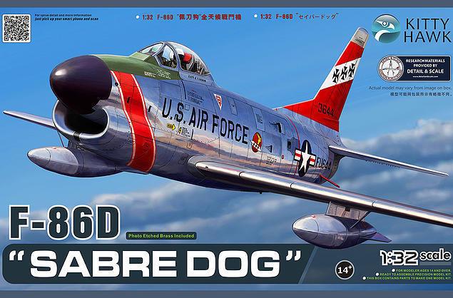 "KITTY HAWK 1/32 NORTH AMERICAN USAF F-86D ""SABRE DO CÃO"" Avião # KH32007"