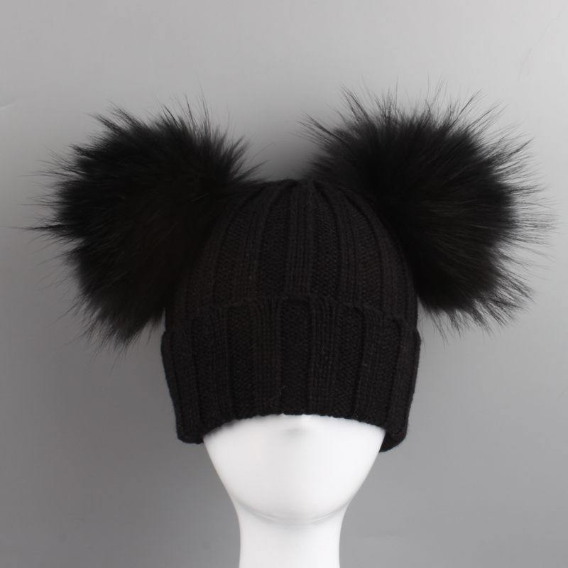 Double Fur Pompom Hat Winter Hat Children Skullies Beanies Winter ... 37775fc0db12
