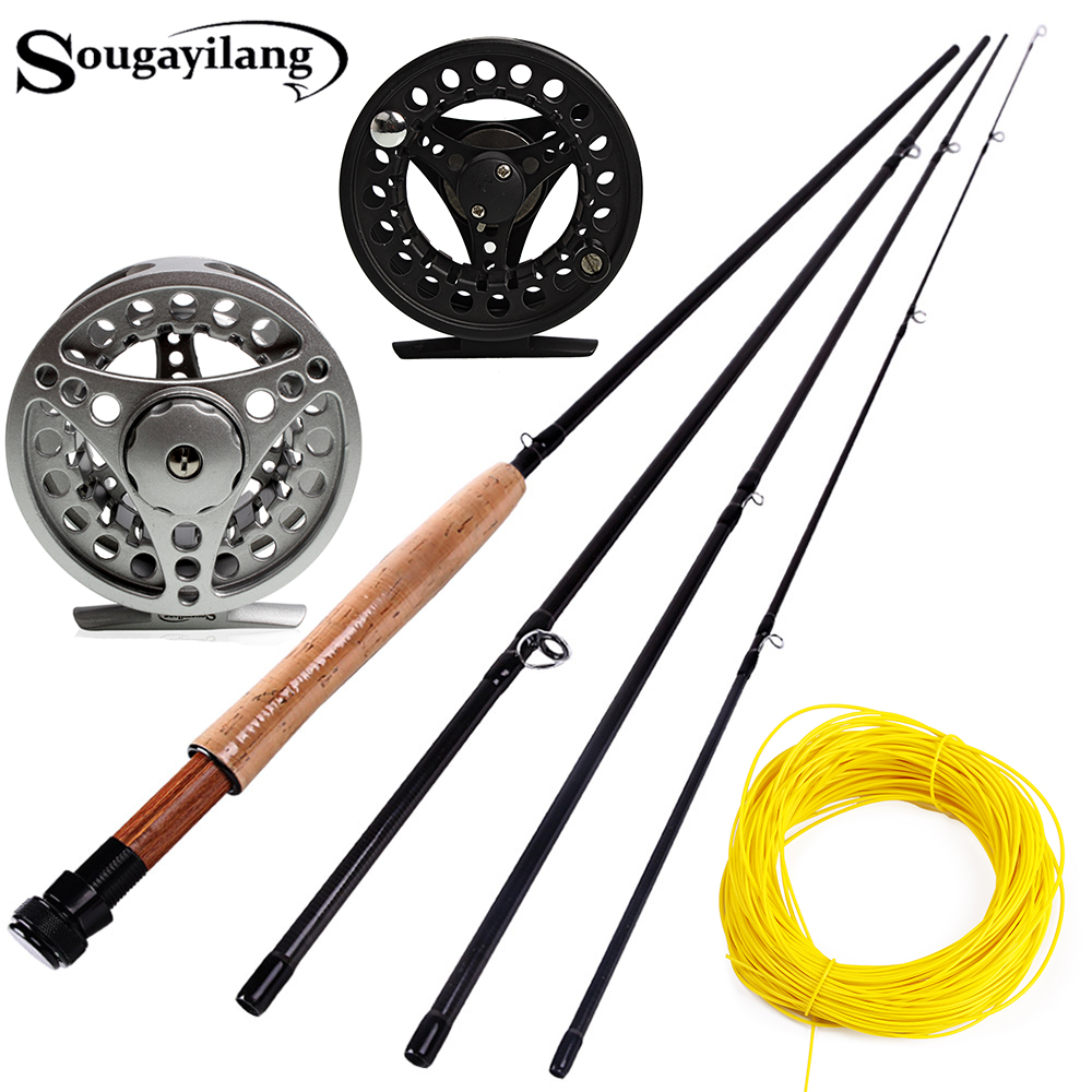 Sougayialng #5/6 Fly Fishing Rod Set 2.7M Fly Rod and Fly Reel Combo with Fishing Lure Line Box Set Fishing Rod Tackle Pesca(China)