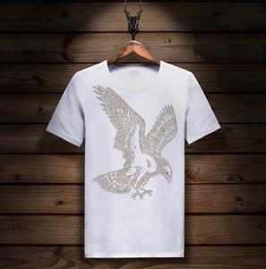 Image 3 - קצר שרוול חולצה לייקרה כותנה אלסטיים חולצת טי גברים של אופנה קיץ חצי שרוול תחתון tShirt