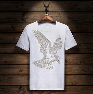 Image 3 - Manica corta T Shirt Lycra di Cotone Elastico della maglietta Degli Uomini di modo Manicotto Mezzo di Estate di Fondo tShirt