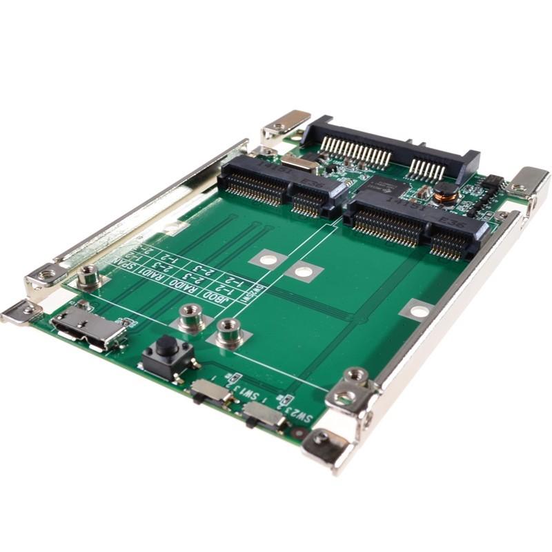 2.5 SATA III to dual mini SATA USB 3.0 to 2 mSATA SSD Raid controller card Converter with cable