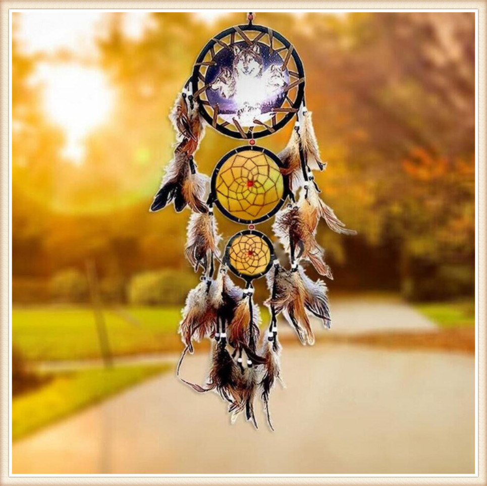 Indian dream catcher with feather handmade Wall hanging decoration ...