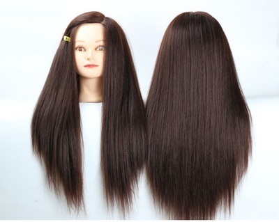 20inch Brown Hair Mannequin Head Holder Female Heads Hairstyles Woman Hairdressing Wig Mannequins Cosmetology Display