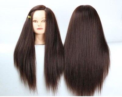Capelli Castani 20 pollici Mannequin Mannequin Femminile Heads Acconciature Donna Parrucchiere Cosmetologia Manichini Parrucca Display